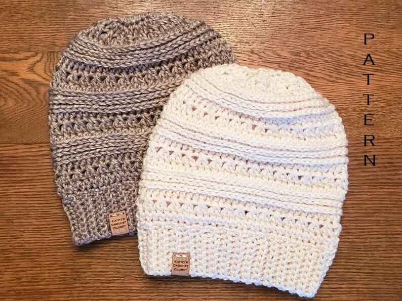 b4a7c4892b1 Crochet Beanie PATTERN Snow Day Slouchy Beanie Hat DIY