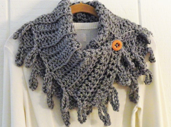 Crochet Pattern Loopy Fringe Button Cowl Pattern Diy Etsy