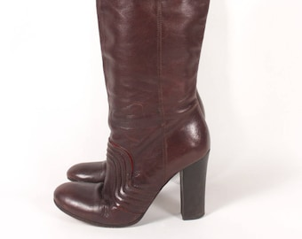9bcd5999289 VINTAGE 90s Miss Sixty Brown Leather Fold Over Boots w Chunky Heel sz 7