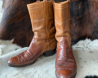 Vtg 80s Lucchese Handmade Caramel Brown Lizard Leather Supple Cowboy Boots  / Western Ranchwear Reptile / Size 10 Mens / Size 11 Womens