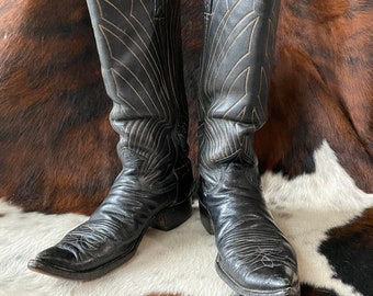 Vtg 50s Justin Black Leather Cowboy Boots with Unique Detail Stitching / Western Ranchwear / Size 9 Mens / Size 10 Womens