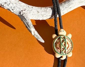 Vtg Native American Turtle Tortoise Totem Slide Pendant Bolo Tie on Black Nylon Cord / Western Rodeo Necklace