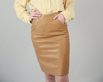 Vtg 80s Evan Arpelli Tan Leather Pencil Skirt / XS Camel Wiggle Skirt