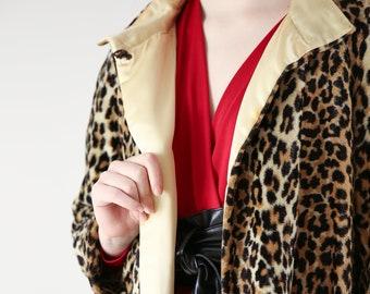 Vtg 60s Cheetah Print Swing Coat w Satin Lining / Mod Leopard Print Jacket / Large