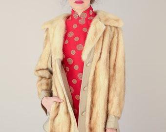Vtg 60s High End Designer Koslowe's Tan Mink Coat with Leather Panels / Small
