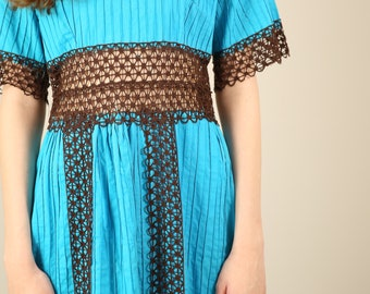 Vtg 60s Turquoise Mexican Wedding Dress with Brown Crochet / 70s Blue Latin Lace Maxi Dress / Small