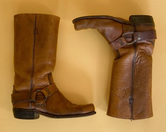 Vtg Genuine Frye Tan Leather Work Boots / Western Biker Motorcycle Boots / Campus Boots / Sz 10 Mens