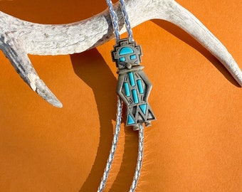 Vtg Silver/Turquoise Inlay Native American Aztec Geometric Figure Slide Pendant Bolo Tie on Silver Braided Cord / Western Rodeo Necklace