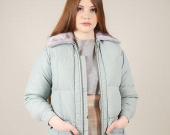Vtg 80s Ski Bunny - Tempco Grey Goose Down Puffer Jacket w Gray Faux Fur Trim / Small - Medium