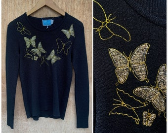 Vtg 60s LeRoy Black Knit Sweater w Gold Butterflies / Embroidered Knit Top/ XS