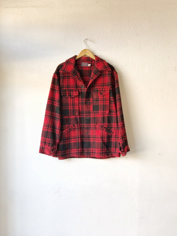 70's Pendleton red and black flannel Plaid jacket