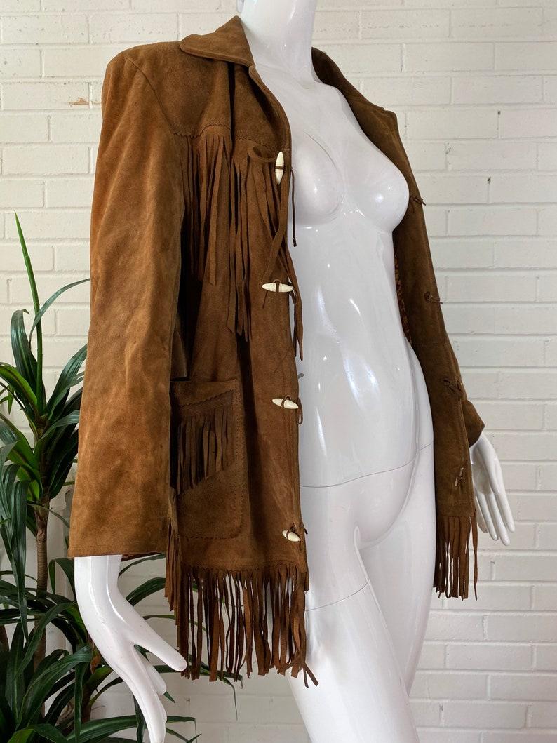 Vintage Brown Suede Fringe Jacket with Toggle Closures / Benny image 0