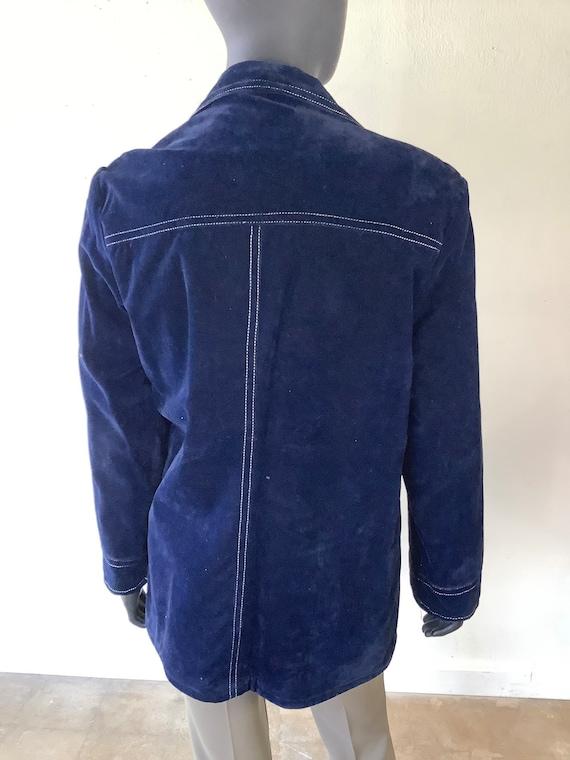 70s Vtg JC Penney Blue Velvet Jacket / Size Medium - image 4