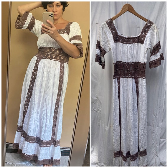Vtg 70s Mexican Wedding Dress / White Brown Croche