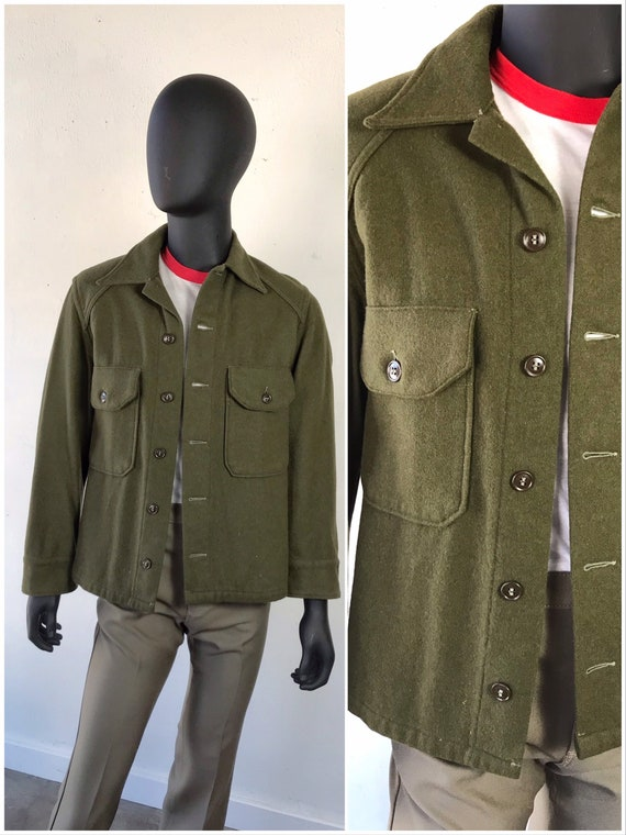 Vintage Wool Army Shirt / Jacket / Army Green Butt