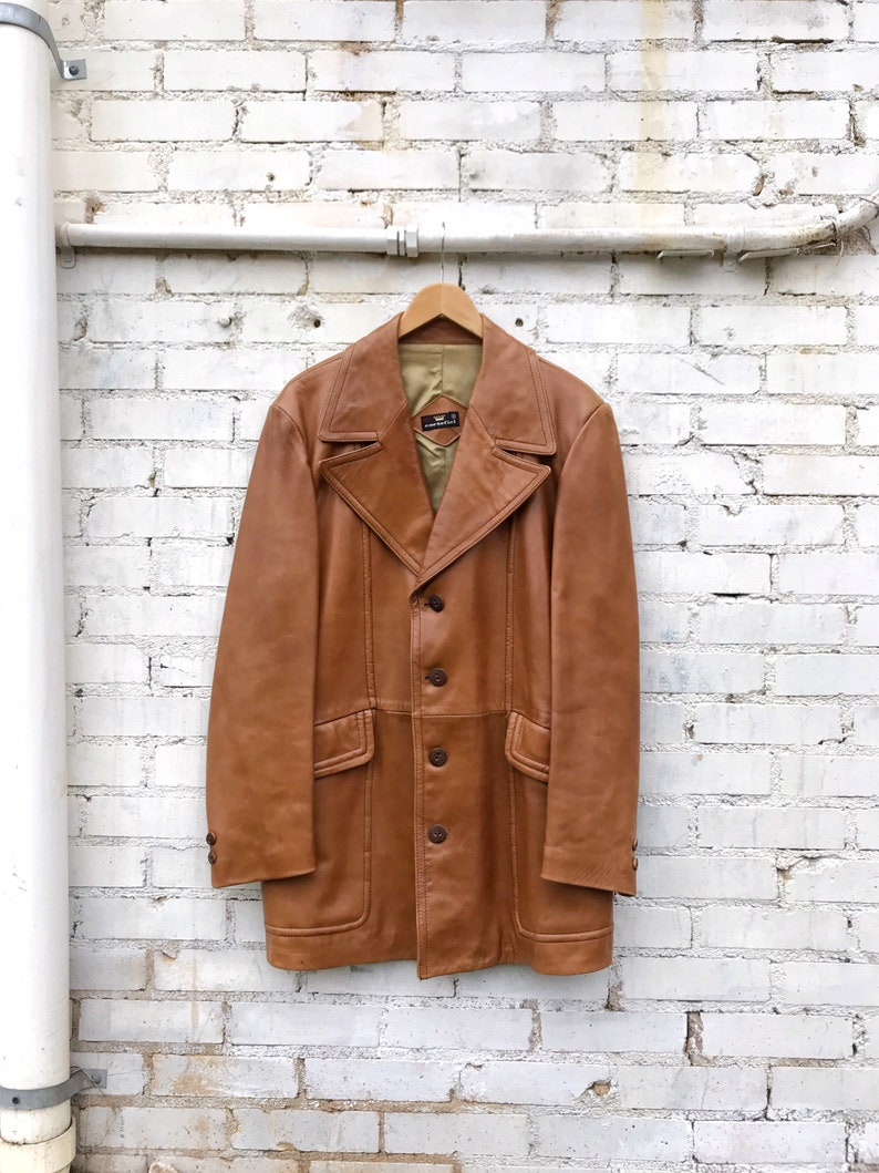 1970s Caramel Brown Leather Western Sport Jacket / Vintage image 0
