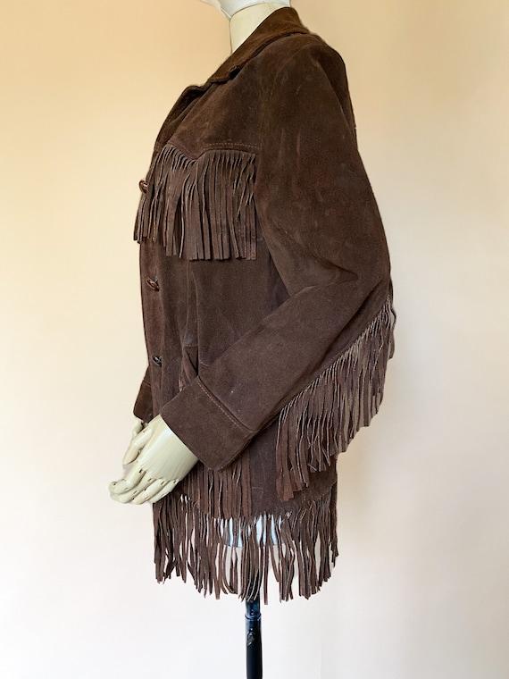 Vtg 60s Brown Suede Fringe Southwestern Jacket / … - image 4