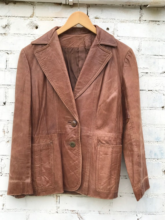 1970s Buttery Soft Brown Leather Jacket / Blazer … - image 2