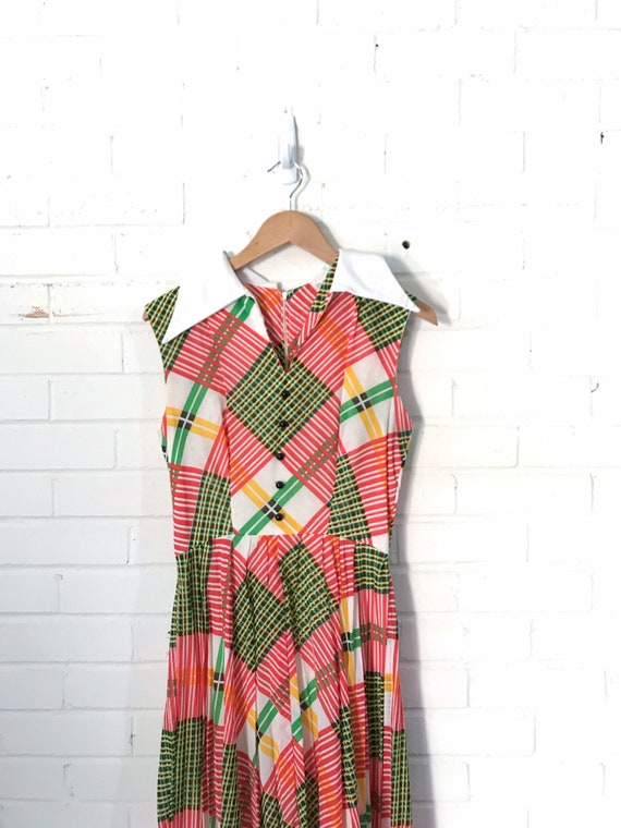 60s Plaid Pleated Maxi Dress / Vintage Red And Gre