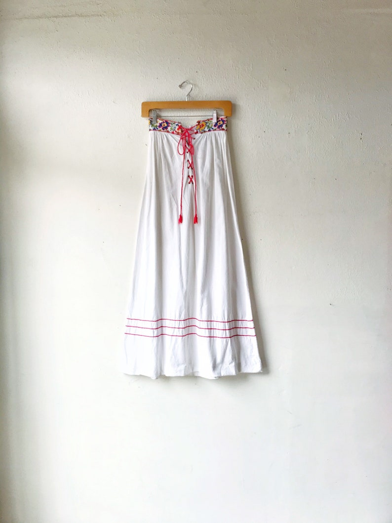 1960s White Cotton Embroidered Lace Up Maxi Skirt / Vintage image 0