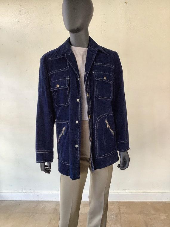 70s Vtg JC Penney Blue Velvet Jacket / Size Medium - image 3