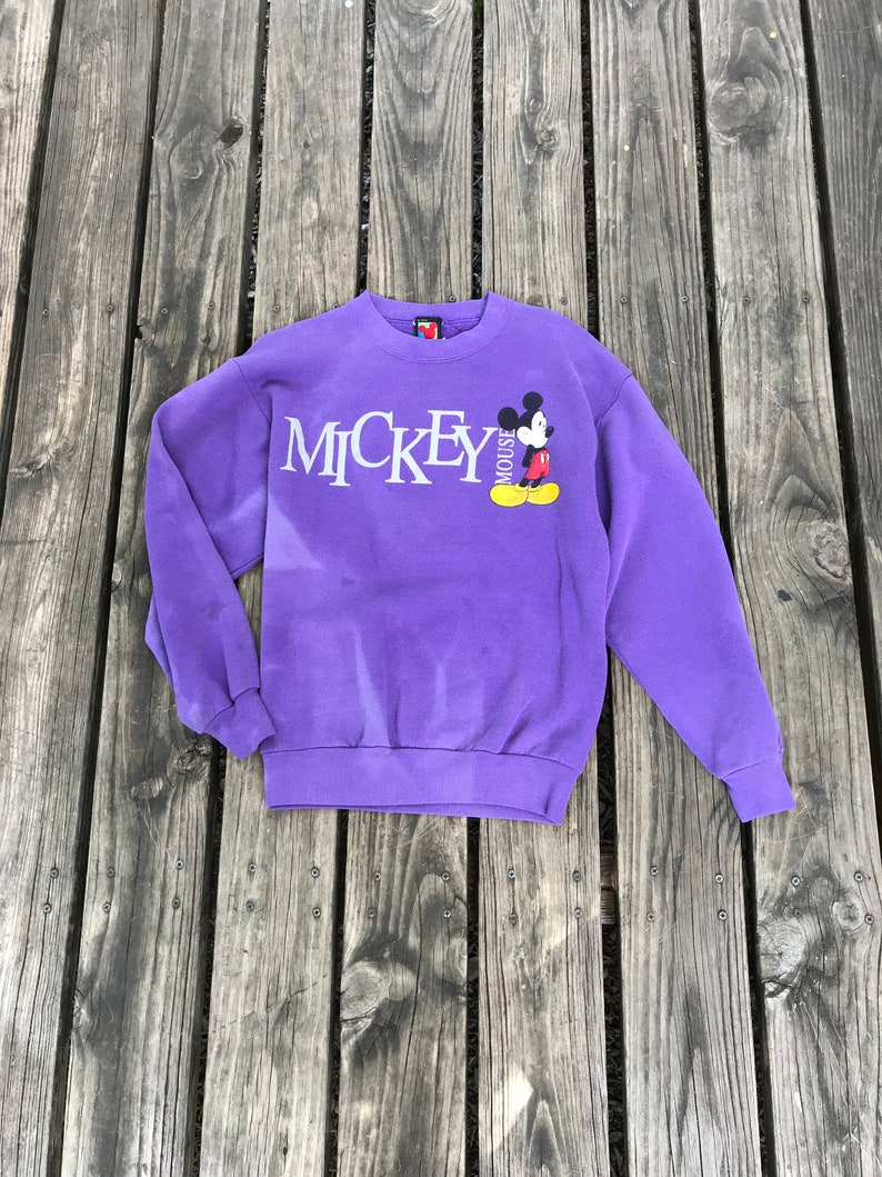 Vintage Disney Purple Mickey Mouse Pullover Sweatshirt image 0