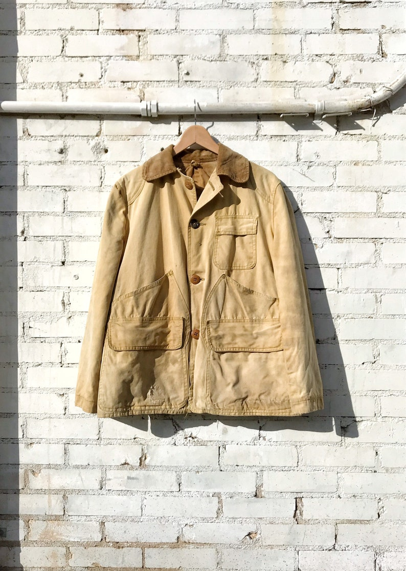 1960s Sears Distressed Canvas Chore Jacket with Corduroy image 0