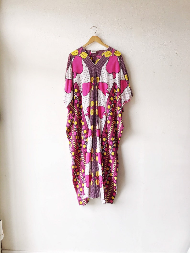 1960s Cotton Pink and yellow Neiman-Marcus Kaftan image 0