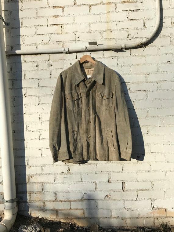 Vintage 60s Sage Green Suede Jacket | Boho Western