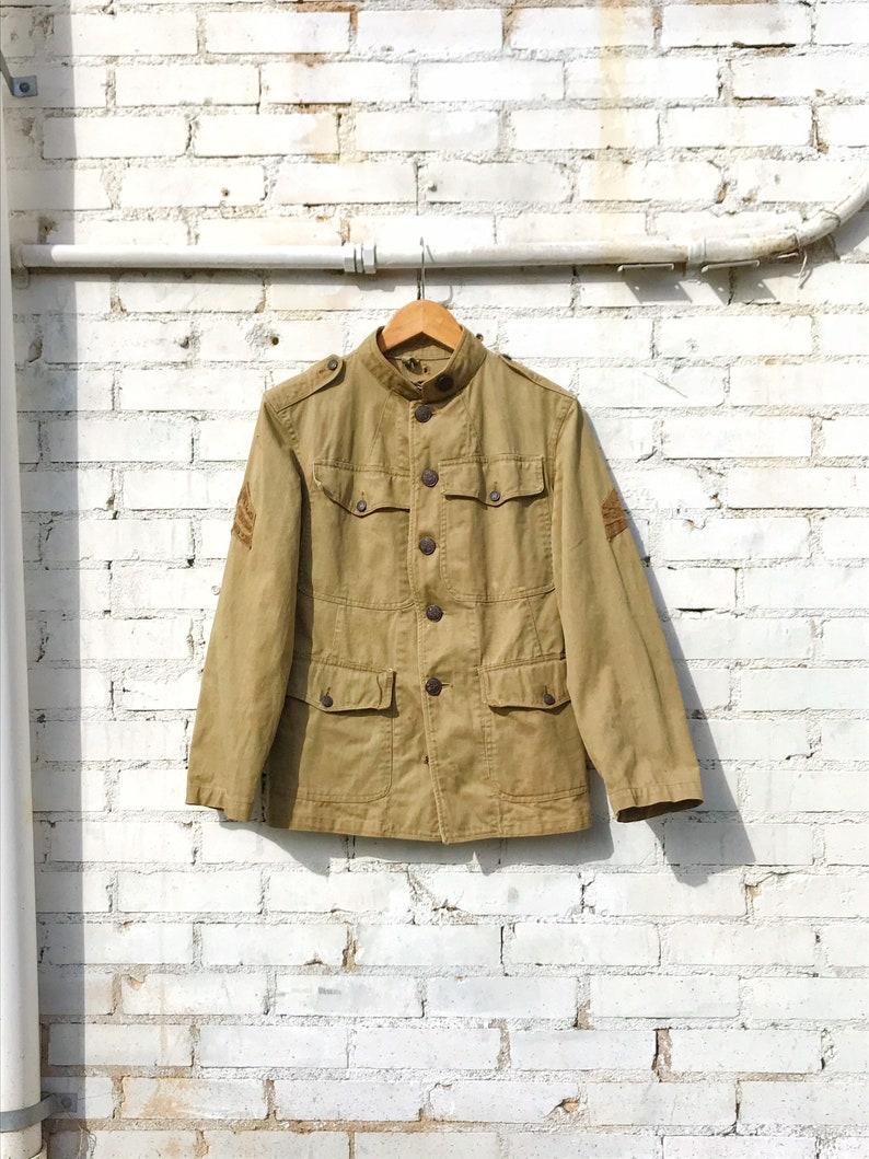 WWI U.S. Army Canvas Jacket / Antique Vintage Dark Khaki image 0
