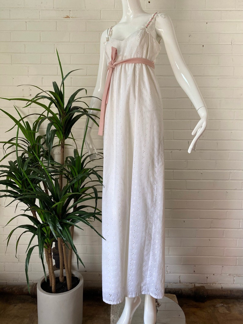 1970s White Eyelet Strappy Maxi Dress / Lace Floral Strap image 0