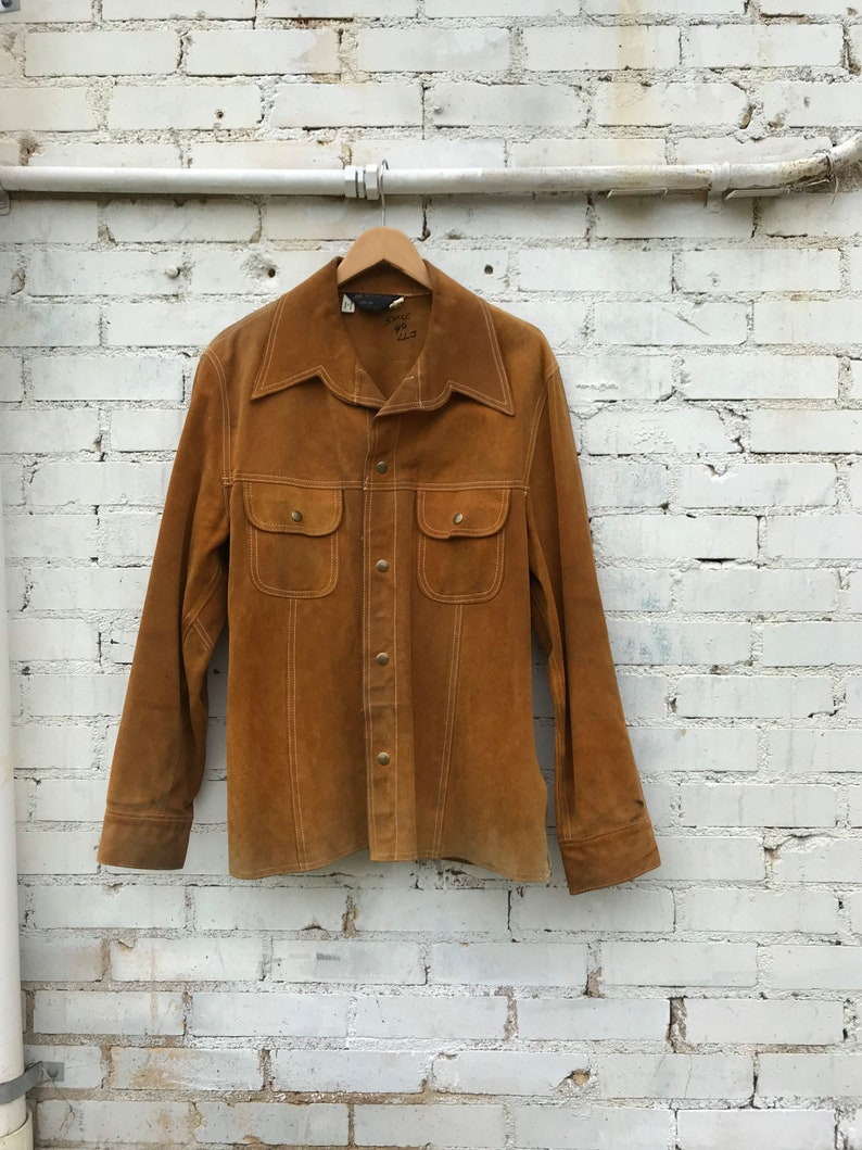1970s JC Penney Golden Brown Suede Jacket / Classic Snap image 0