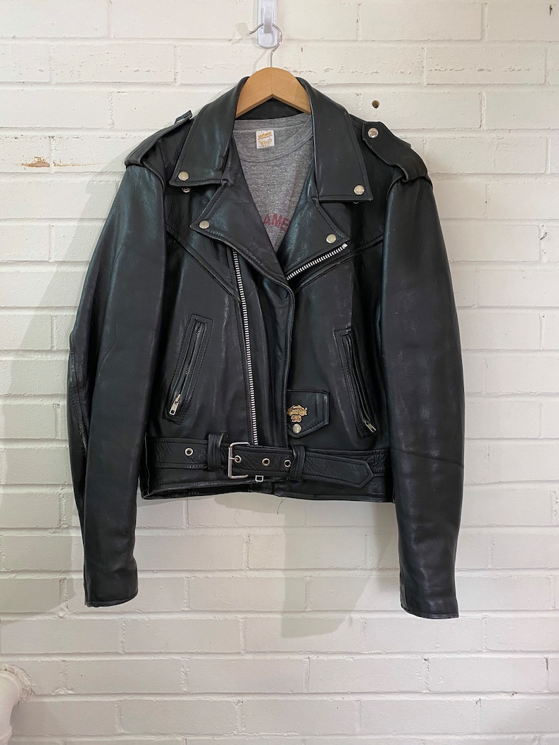 Vintage 70s 80s Black Leather Fringe Moto Jacket with Harley image 0
