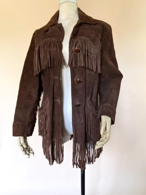 Vtg 60s Brown Suede Fringe Southwestern Jacket / … - image 2