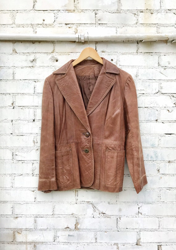 1970s Buttery Soft Brown Leather Jacket / Blazer … - image 1