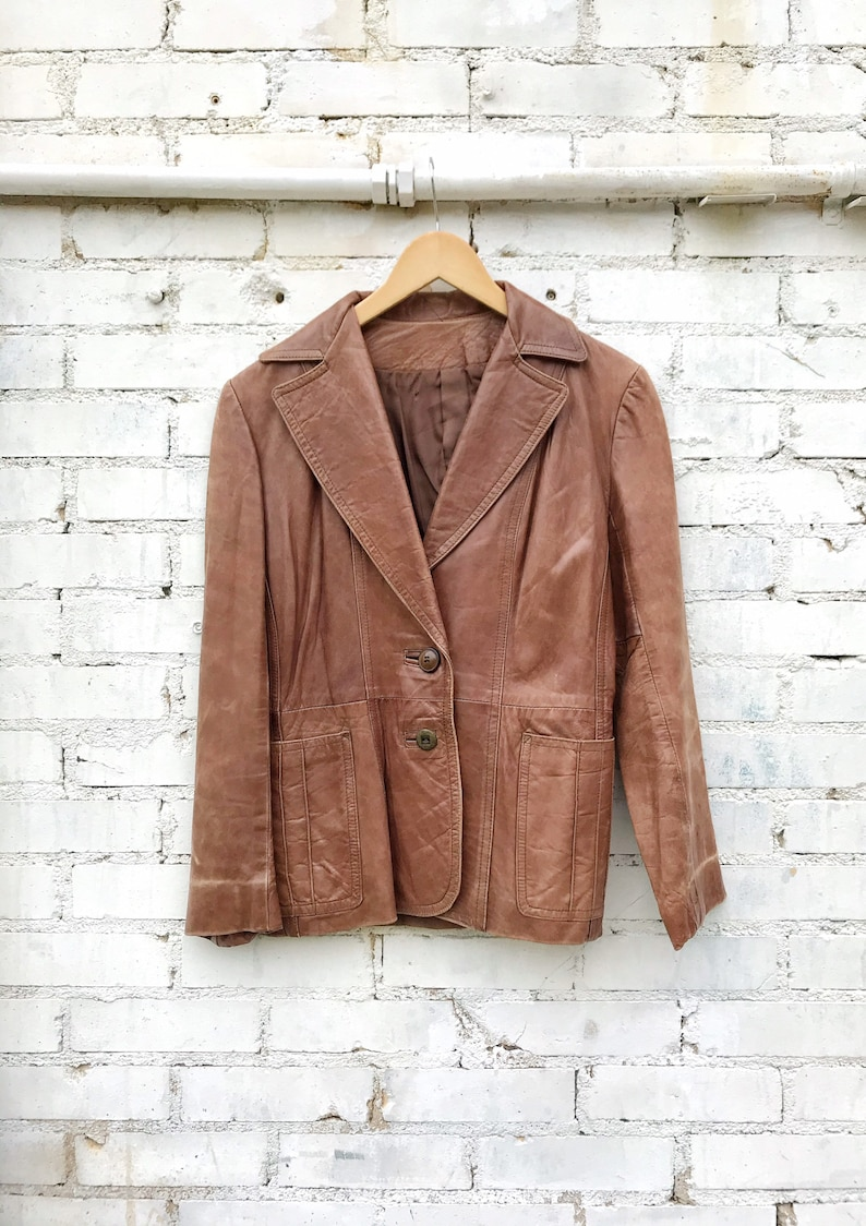 1970s Buttery Soft Brown Leather Jacket / Blazer / Western image 0