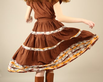 Vtg 50s Western Square Dancing Set / Cowboy Native American Cowgirl Matching Skirt 2 - Piece Set /  XS