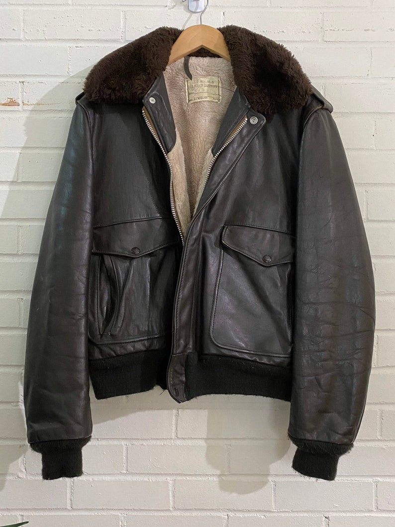 Vintage Schott Leather Bomber Jacket with Fur Collar / image 0