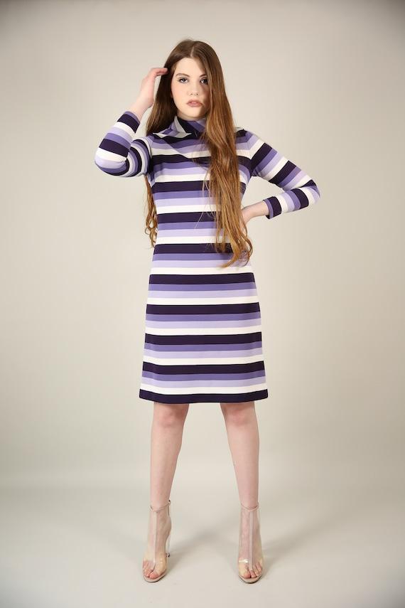 Vtg 60s MOD Purple/White Striped Poly Dress / Groo