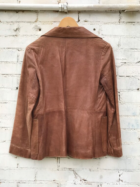 1970s Buttery Soft Brown Leather Jacket / Blazer … - image 4