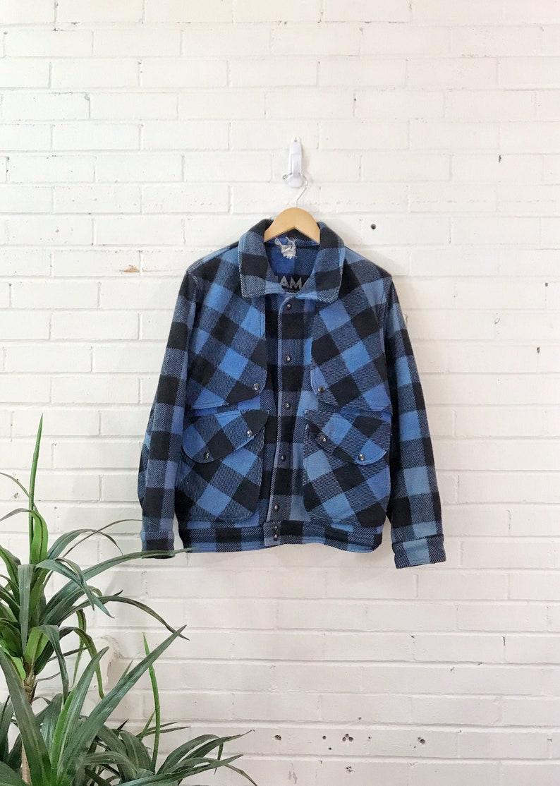 Vintage Blue Plaid Flannel Coat / Wool Hunting Jacket / Shaman image 0