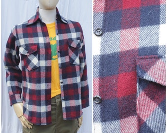 Vtg 70s Red And Navy Woolrich Flannel / Long-sleeve Plaid Shirt / Women's L