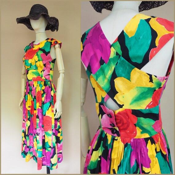 Vtg 80s Bold Floral Miami Resort Dress / Vintage 1