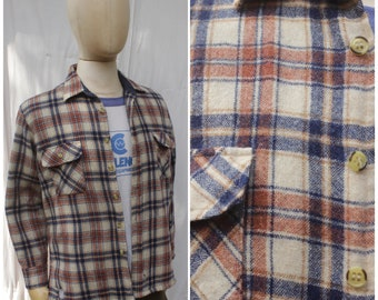 Vtg 80s Sportie Brown Navy Quilt Lined Flannel Shirt / Wool Workwear Jacket / Mens XL