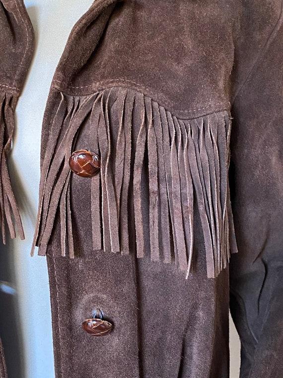 Vtg 60s Brown Suede Fringe Southwestern Jacket / … - image 8