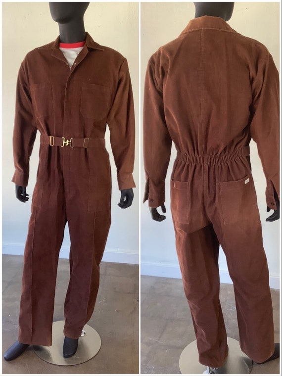 1970s Brown Corduroy Belted Coveralls / Sweet Comp