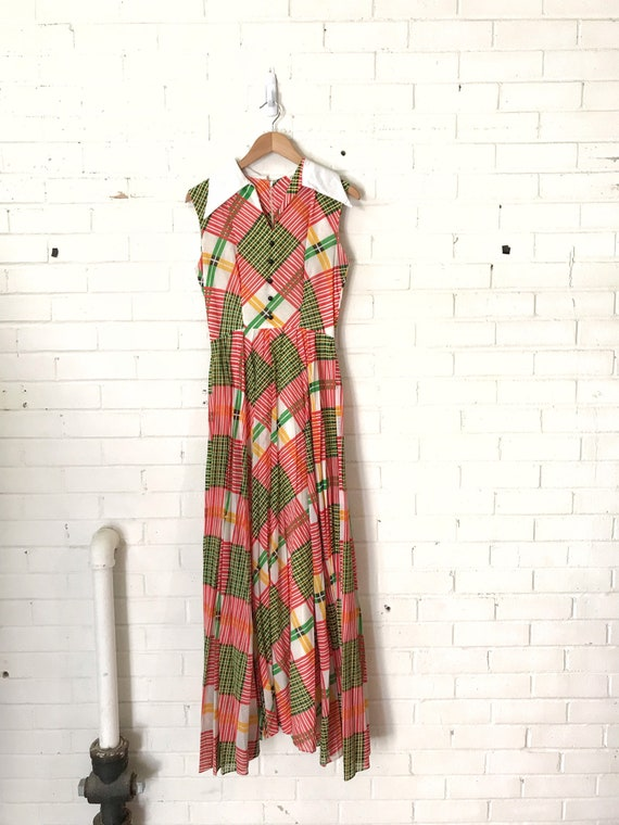 60s Plaid Pleated Maxi Dress / Vintage Red And Gr… - image 3