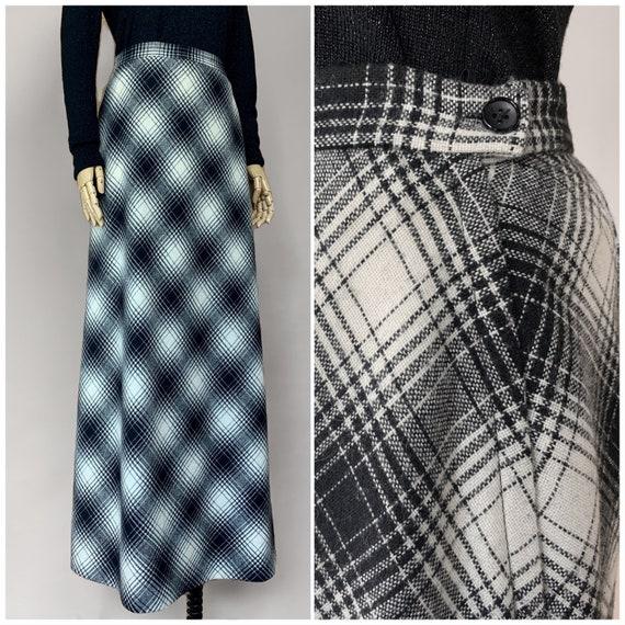 Vtg 50s Koret Long Black and White Plaid Skirt / … - image 1