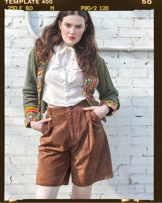 Vintage Brown Suede High Waisted Pleated Shorts /