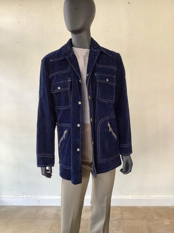 70s Vtg JC Penney Blue Velvet Jacket / Size Medium - image 6